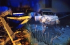 На Тячівщині автомобіль AUDI вдарився в електроопору