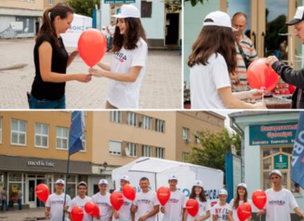 Сьогодні в Ужгороді «Основа» провела акцію «Президент на палочці»