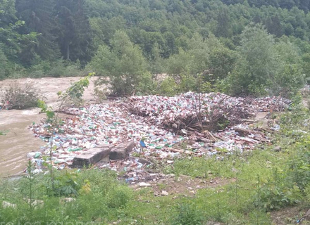 На Хустщині з річок на берег винесло величезні купи сміття (ВІДЕО)