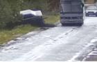 Камери відеоспостереження зафіксували момент автоаварії на Виноградівщині (ВІДЕО)