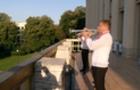 Фанфари з балкону будівлі Закарпатської ОДА до Дня Незалежності (ФОТО, ВІДЕО)
